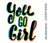girl slogan with 3d stereo... | Shutterstock .eps vector #1145574524