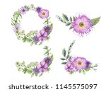 Watercolor Hand Painted Purple...