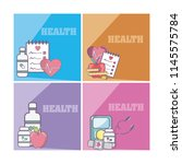 set of health and medicine cards | Shutterstock .eps vector #1145575784