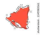 vector cartoon nicaragua map... | Shutterstock .eps vector #1145583161