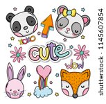 cute and lovely animals card | Shutterstock .eps vector #1145607854