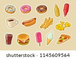 set fast food icon. cup cola ... | Shutterstock .eps vector #1145609564