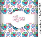 love and hearts pattern... | Shutterstock .eps vector #1145609807