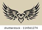 wings heart tattoo | Shutterstock .eps vector #114561274
