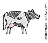 doodle cute cow farm animal icon | Shutterstock .eps vector #1145619494