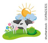 nice cow animal walking farm | Shutterstock .eps vector #1145621321