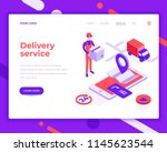 delivery service people and... | Shutterstock .eps vector #1145623544
