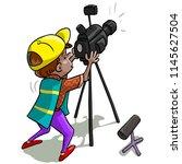 vector illustration  cameraman  ... | Shutterstock .eps vector #1145627504