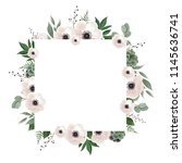 floral wreath with green... | Shutterstock .eps vector #1145636741