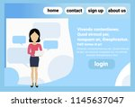 caucasian woman using laptop...   Shutterstock .eps vector #1145637047