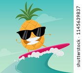 funny cartoon of surfing... | Shutterstock .eps vector #1145639837