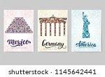 set of art ornamental travel...   Shutterstock .eps vector #1145642441