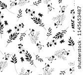 monochrome floral seamless... | Shutterstock .eps vector #1145653487
