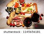 italian antipasti wine snacks... | Shutterstock . vector #1145656181