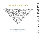 grape and vine. hand drawn... | Shutterstock .eps vector #1145675921