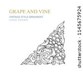 grape and vine. hand drawn... | Shutterstock .eps vector #1145675924