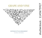 grape and vine. hand drawn... | Shutterstock .eps vector #1145675927