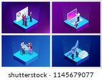 isometric analysis data and... | Shutterstock .eps vector #1145679077