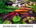 fresh organic vegetables...   Shutterstock . vector #1145680301