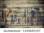 old antique tools viewed from...   Shutterstock . vector #1145692157