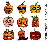 halloween cute cartoon pumpkin... | Shutterstock .eps vector #1145696237