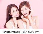 two beauty skincare women with... | Shutterstock . vector #1145697494