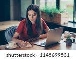 brunette intelligent girl... | Shutterstock . vector #1145699531