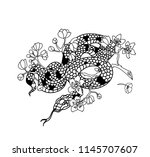 snake tattoo and illustration... | Shutterstock .eps vector #1145707607