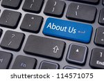 concepts of 'about us', message on keyboard enter key. - stock photo