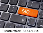 messages on keyboard enter key, for frequently asked questions concepts. - stock photo