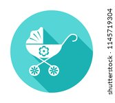 baby carriage icon in flat long ...
