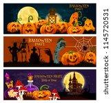 halloween zombie night party... | Shutterstock .eps vector #1145720531