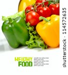 fresh vegetables on the white... | Shutterstock . vector #114572635