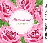 Stock vector vector wedding invitations with bright pink roses and round frame for text floral design for 1145730467
