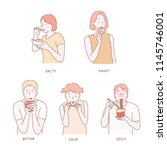 various expressions of... | Shutterstock .eps vector #1145746001