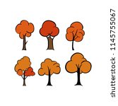 autumn tree element cartoon | Shutterstock .eps vector #1145755067