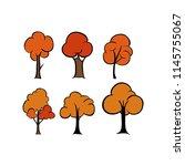 autumn tree element cartoon | Shutterstock .eps vector #1145755067