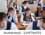 primary school students think... | Shutterstock . vector #1145766551