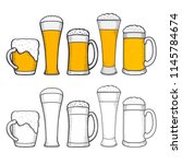 glasses of beer with wreath of... | Shutterstock .eps vector #1145784674
