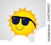 cute smiling happy sun icon...   Shutterstock .eps vector #1145790437