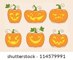 halloween pumpkin set with... | Shutterstock .eps vector #114579991