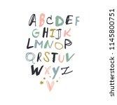 cute hand drawn font. decor... | Shutterstock .eps vector #1145800751