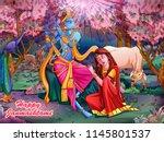 vector design of lord krishna... | Shutterstock .eps vector #1145801537
