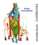 vector design of lord krishna... | Shutterstock .eps vector #1145801561