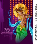 vector design of lord krishna... | Shutterstock .eps vector #1145801567