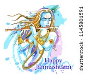 vector design of lord krishna... | Shutterstock .eps vector #1145801591