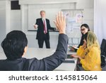 business man hand up for asking ... | Shutterstock . vector #1145815064