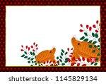 boar new year card hanafuda... | Shutterstock .eps vector #1145829134