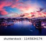 hong kong aerial view cityscape  | Shutterstock . vector #1145834174