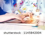 hands using device with... | Shutterstock . vector #1145842004